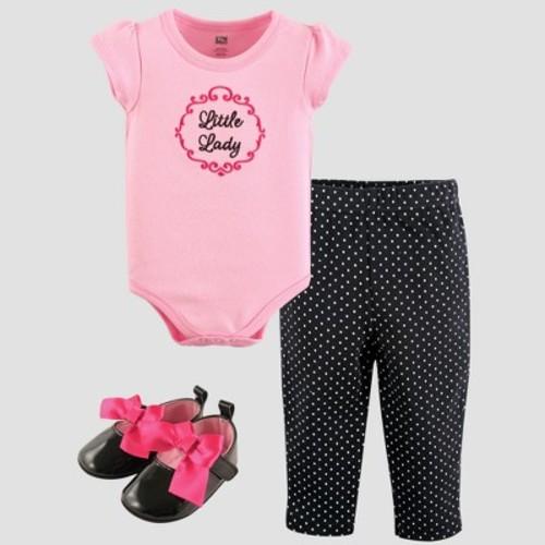 Hudson Baby Girls 3 Piece Pink Bodysuit, Black Polka Dot Pant and Black Shoe Set