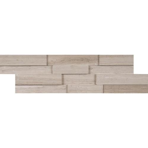 MS International White Oak 3D Mini Ledger Panel 4.5 in. x 16 in. Honed Marble Wall Tile (5 sq. ft. / case)