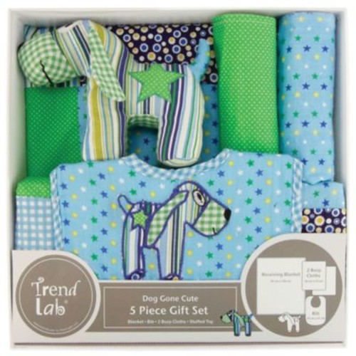 Trend Lab 5-Piece Dog Gone Cute Welcome Baby Essentials Gift Set in Green/Blue