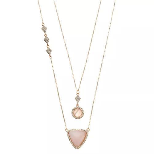 LOLI BIJOUX Breast Cancer Awareness Pink Geometric Necklace Set
