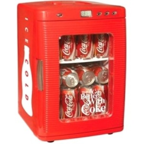 Coca Cola KWC-25 28-Can Capacity Portable 12-V Car Fridge with LED Display [Red, None]