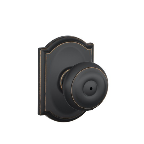 Schlage F40 GEO 716 CAM Camelot Collection Georgian Privacy Knob, Aged Bronze [Aged Bronze, Privacy]