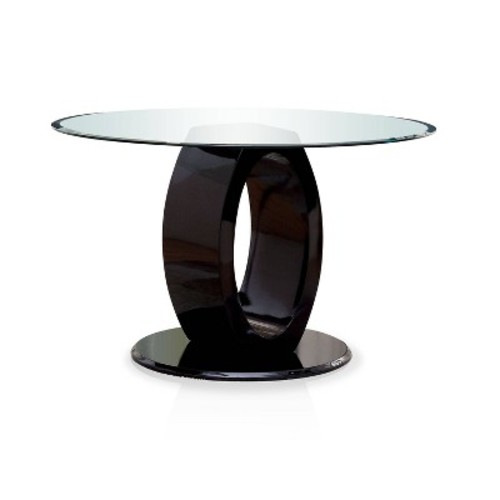Oval Pedestal round Dining Table Wood/Black - Furniture of America