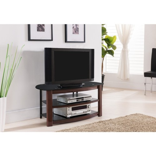 K and B Furniture Co Inc TV Stands & Entertainment Centers K&B E1042 Black Metal, Glass, and Wood TV Stand