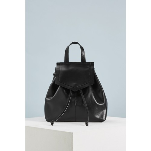 Leather Triangle Flap Backpack