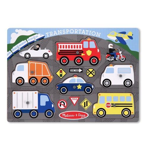 Melissa & Doug Transportation Vehicles Wooden Peg Puzzle (6 pcs)
