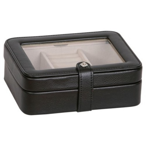 Mele & Co. Margo Faux Leather Glass Top Jewelry Box - Black
