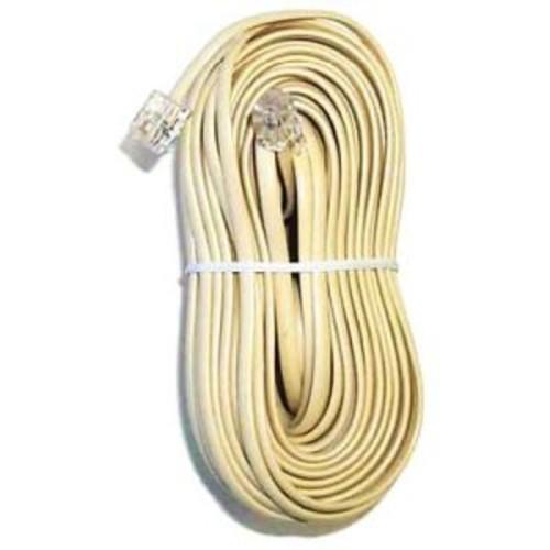 Modular plug to plug 50 feet line cord. Bulk , Ivory.
