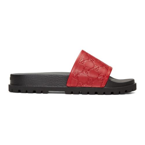 GUCCI Red Pursuit Trek Slide Sandals
