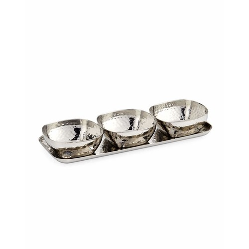 Godinger Hammered Tray with 3 Square Bowls