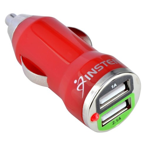 Insten 995510 Dual 2A USB Mini Car Charger Adapter, Red