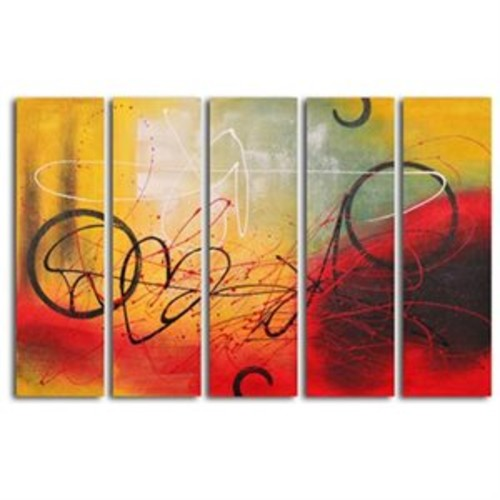 Graffiti on Copper 5 Piece Original Painting on Wrapped Canvas Set