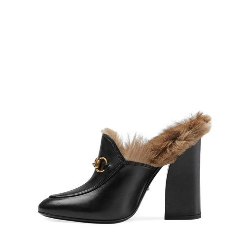 GUCCI Princetown Fur-Lined High-Heel Mule, Black