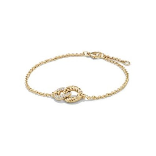 Belmont Curb Link Pendant Bracelet with Diamonds in 18K G
