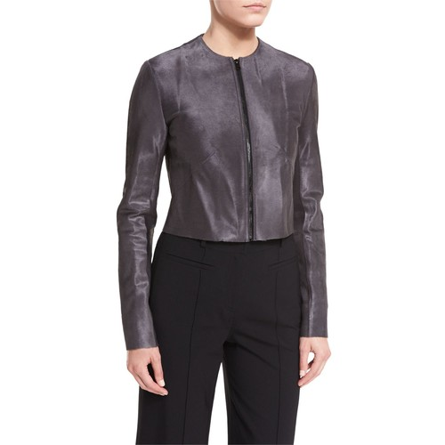 Tailored Zip-Front Cropped Leather Jacket