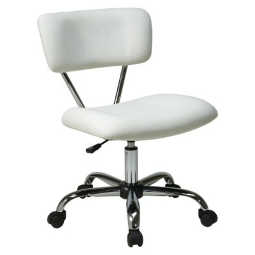 Vista Chrome and Vinyl Desk Chair White - Office Star