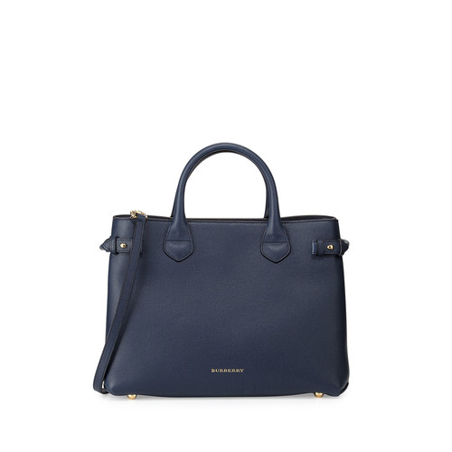 BURBERRY House Check Horseshoe Leather Satchel Bag, Ink Blue