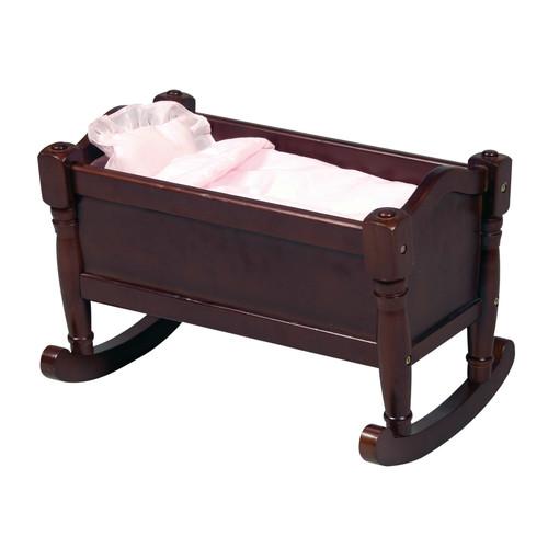 Guidecraft Espresso - Dark Cherry Wooden Doll Cradle - Fits 18