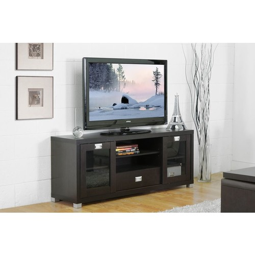 Baxton Studio Matlock Modern TV Stand with Glass Doors
