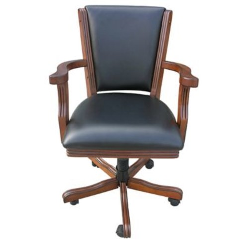 Hathaway Games Kingston Poker Genuine Leather Upholstered Dining Chair (Set of 4); Walnut