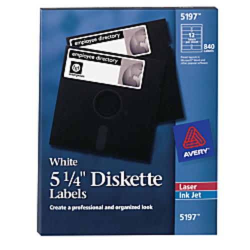 Avery Permanent Inkjet/Laser Diskette Labels, 5 1/4