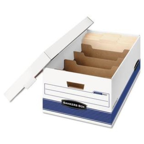 Fellowes 0083201 Stor/File Extra Strength Storage Box, Legal, Locking Lid, White/Blue, 12/Carton