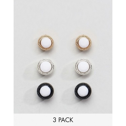 Chained & Able Stone Earring Pack In White