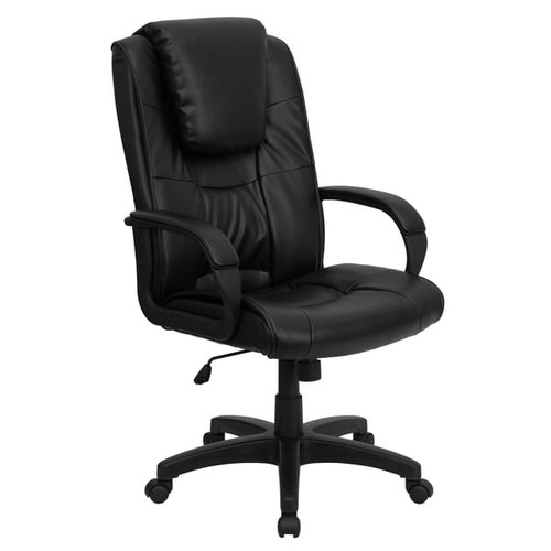 Vinton Black Leather Executive Adjustable Swivel Office Chair with Headrest Cushion