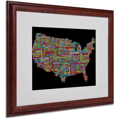 Trademark Art 'US Cities Text Map II' Matted Framed Art by Michael Tompsett