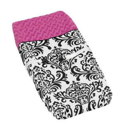 Sweet Jojo Designs Hot Pink, Black and White Isabella Baby Changing Pad Cover