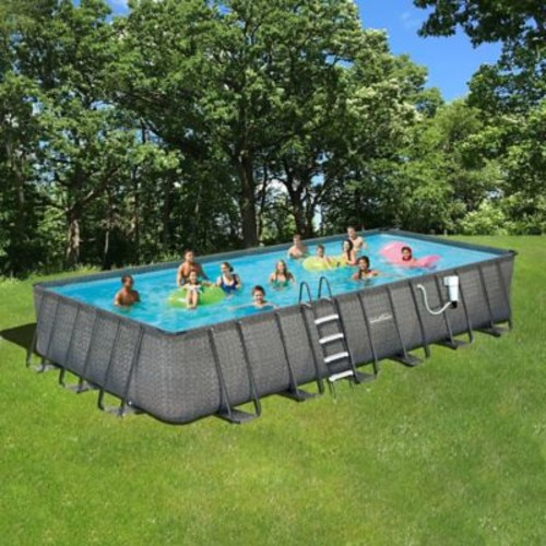 Summer Waves Elite Dark Wicker 12' x 24' Rectangular Metal Frame Pool Package - 52