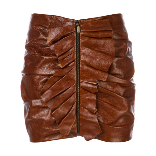 SAINT LAURENT Ruffle Trim Mini Skirt