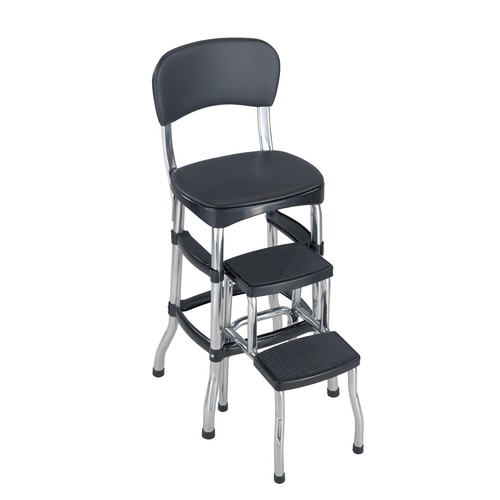 Cosco Home and Office Products Black Retro Counter Chair / Step Stool