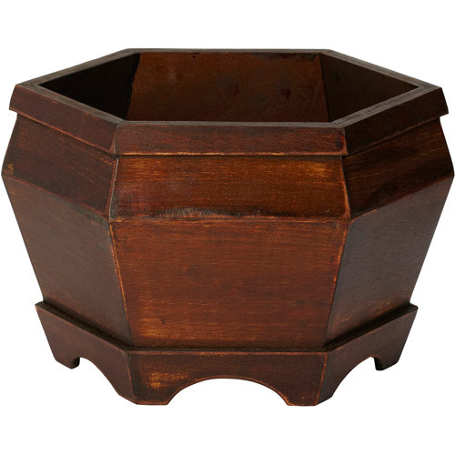 Nearly Natural 7.5 in. H Brown Wooden Hexagon Decorative Planter (Set of 3)