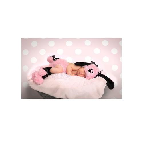 Princess Paradise Girls Poodle 3 Piece Pink Plush 3D Hat, Diaper Co - 0-3 mo
