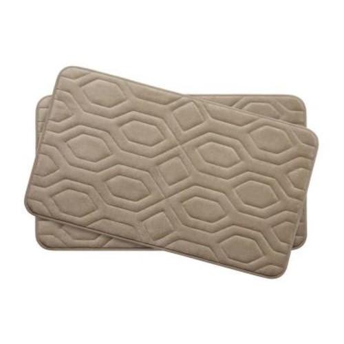 BounceComfort Turtle Shell Linen 17 in. x 24 in. Memory Foam 2-Piece Bath Mat Set