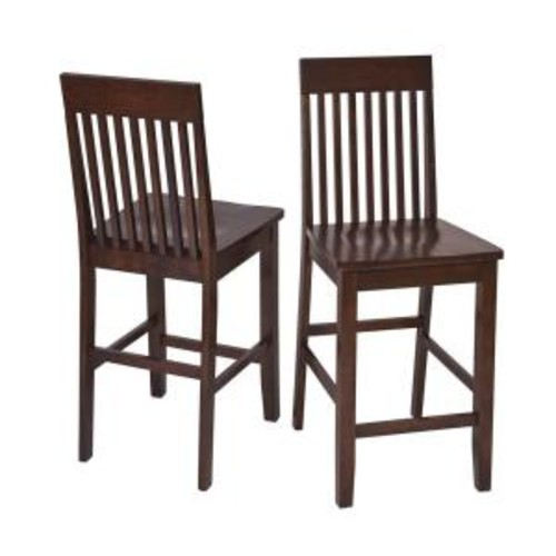 OSPdesigns Westbrook 24 in. Dark Brown Wood Bar Stool (Set of 2)