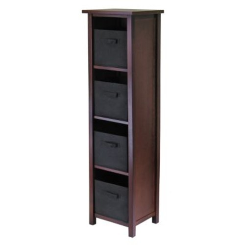 Winsome Wood Verona Wood 5 Tier Open Cabinet with 4 Black Folding Fabric Baskets [Brown, black basket]
