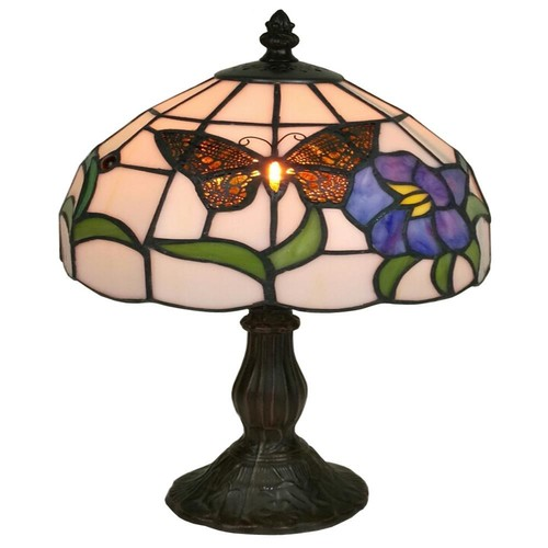 Amora Lighting 20 in. Tiffany Style Butterfly Finish Table Lamp
