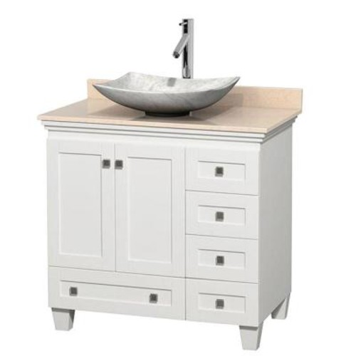 Wyndham Collection Acclaim 36 in. W Vanity in White with Marble Vanity Top in Ivory and White Carrara Marble Sink