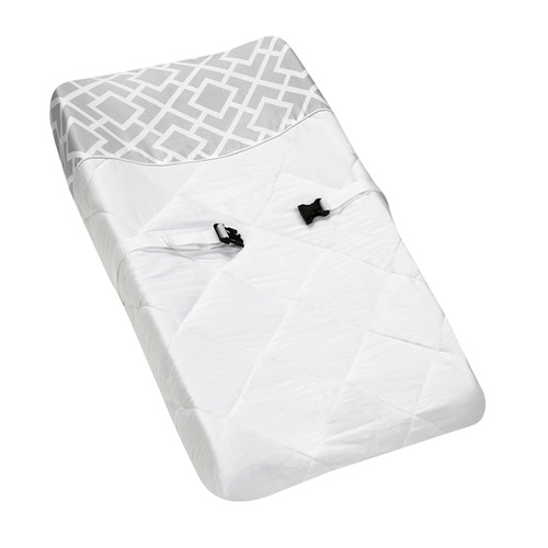Sweet JoJo Designs Gray and White Diamond Baby Changing Pad Cover