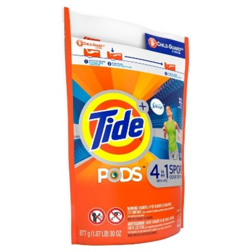 Tide PODS Plus Febreze Sport Odor Defense Laundry Pacs, Active Fresh Scent, 32 count, Designed For Regular and HE Washers