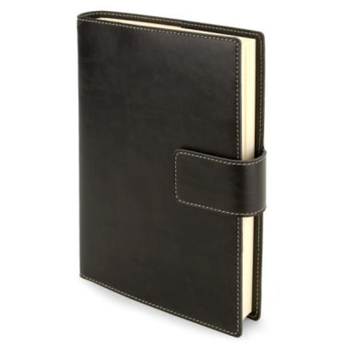 Black Bonded Italian Leather Tab Snap Lined Journal (8.9