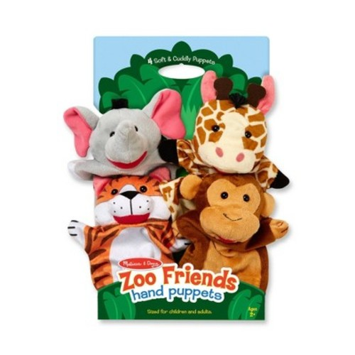 Melissa & Doug Zoo Friends Hand Puppets (Set of 4) - Elephant, Giraffe, Tiger, and Monkey