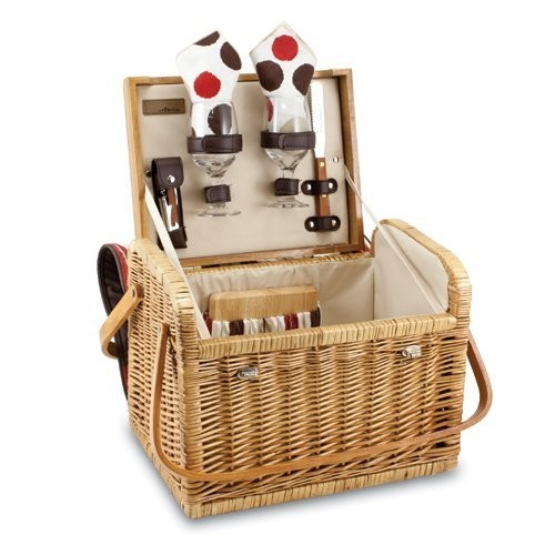 Picnic Time Kabrio Picnic Basket with Wine and Cheese Service for Two, Moka Collection [Moka]