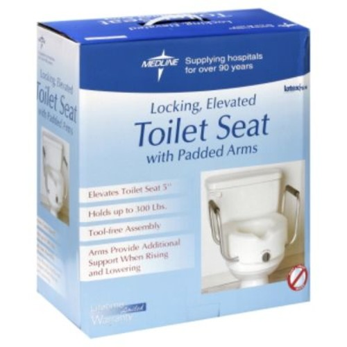 Medline Elevated Locking Toilet Seat with Padded Arms