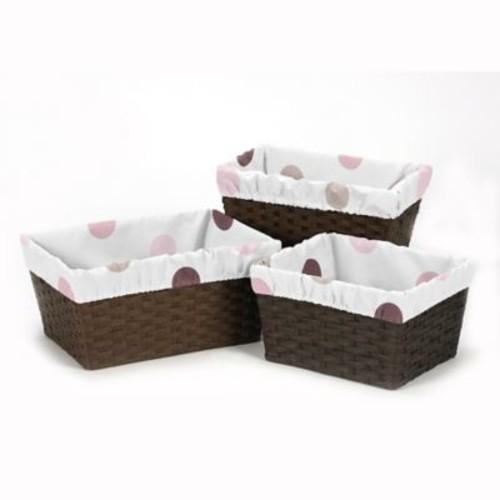 Sweet Jojo Designs Mod Dots 3-Piece Basket Liners in Purple/Chocolate