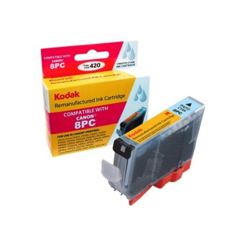 Kodak Remanufactured Ink Cartridge Compatible with Canon CLI8/CLI8PC (CLI-8PC) High-Yield Photo Cyan