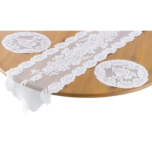 Essential Home White 3 Piece Lace Set