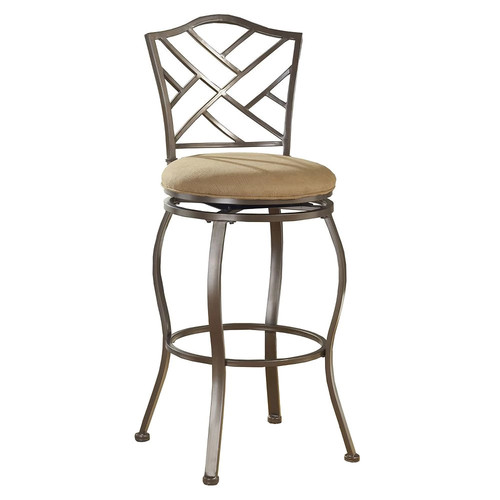Hillsdale Furniture Hanover 30 in. Brown Powder Coat Swivel Cushioned Bar Stool